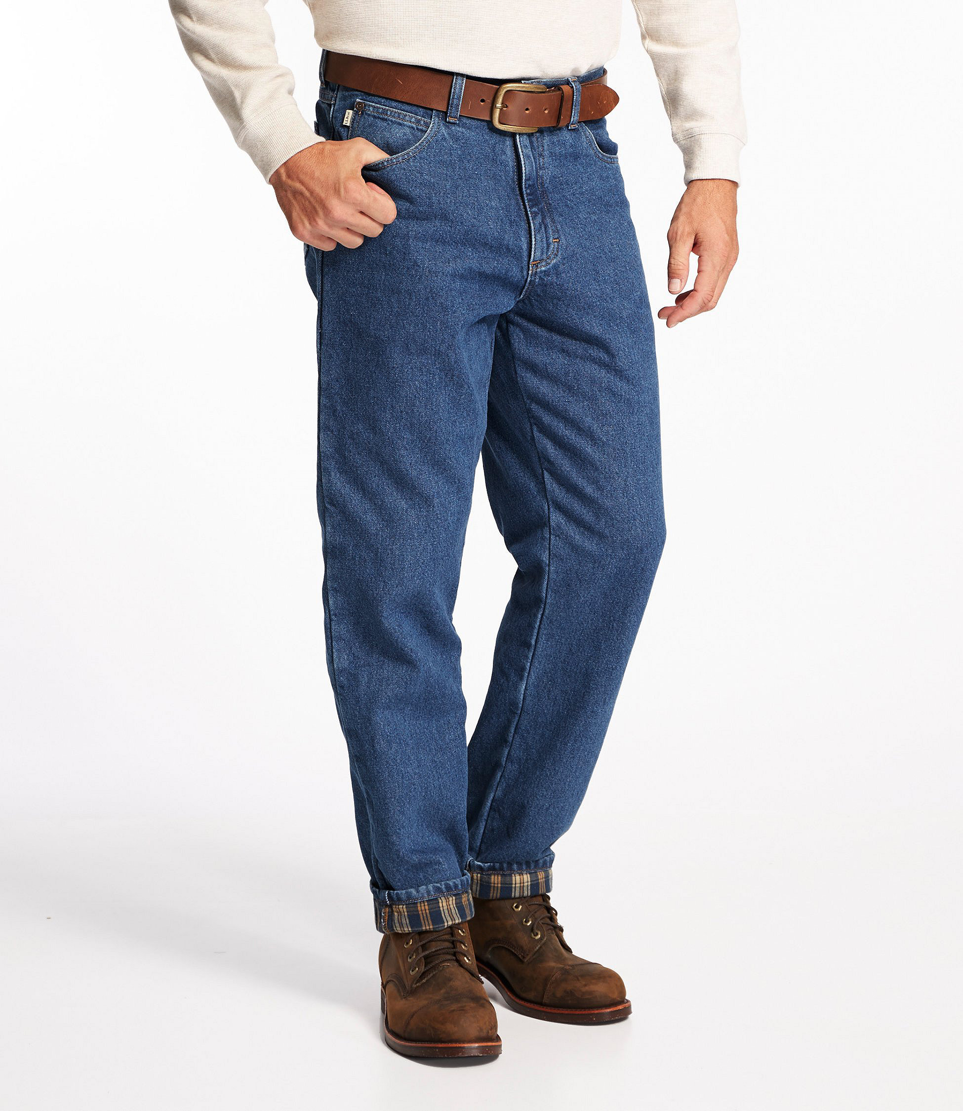 Men's Double L Jeans, Flannel-Lined Natural Fit | Free Shipping at ...