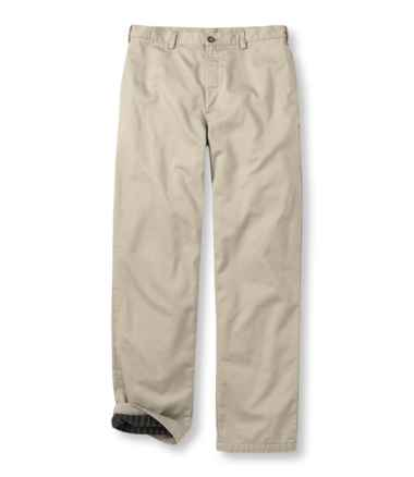 Men's Lined Double L® Chinos, Natural Fit Plain Front