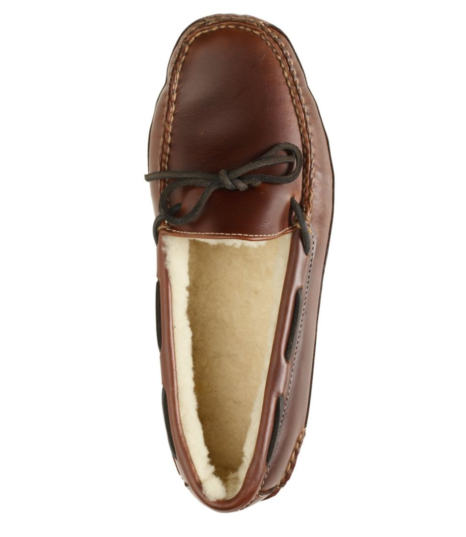 Men's Leather Double-Sole Slippers, Shearling-Lined