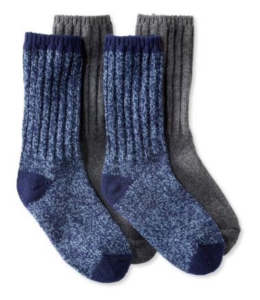 Adults' Wool-Blend Ragg Socks, Two Pairs