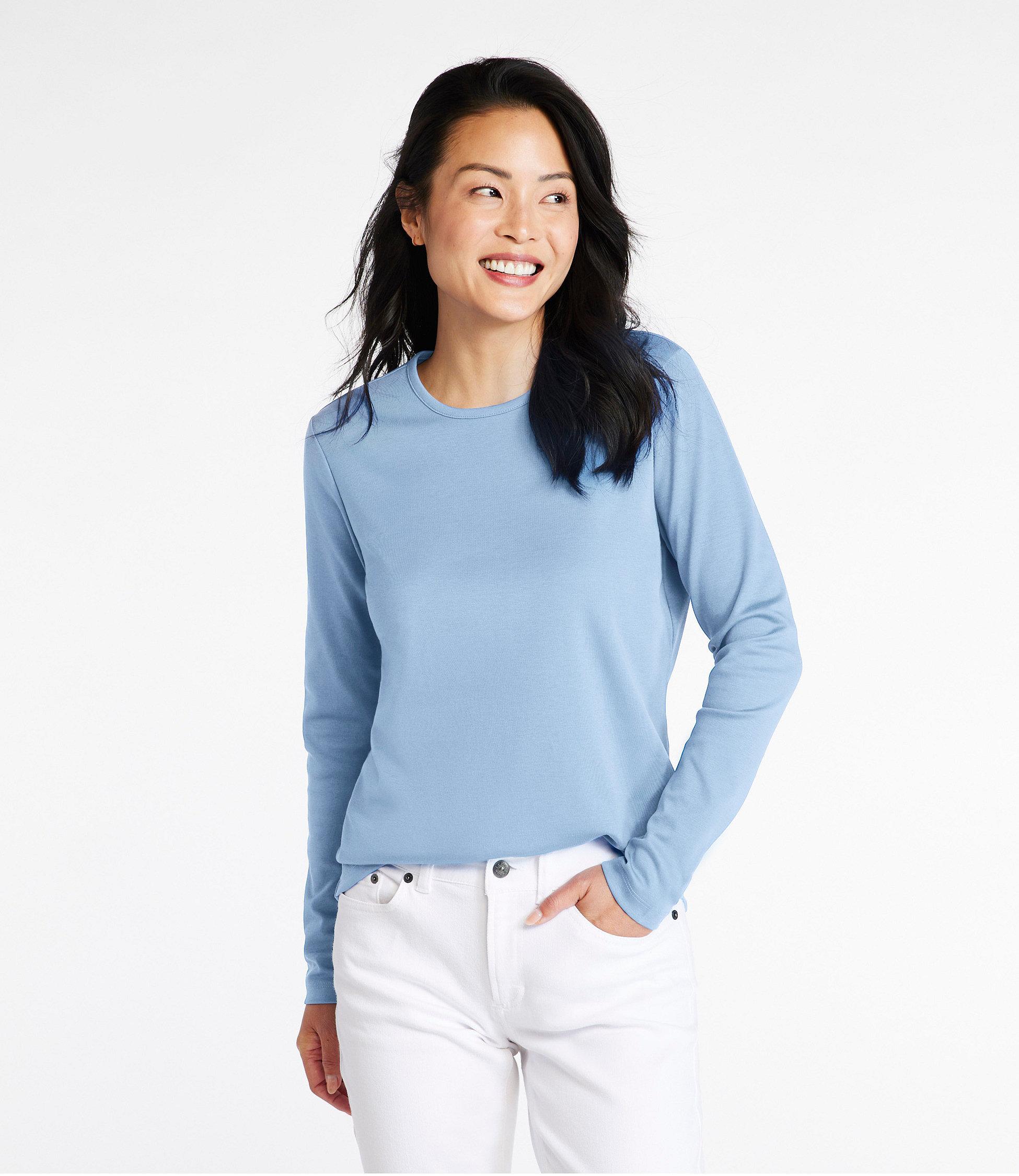 Women's Pima Cotton Tee, Long-Sleeve Crewneck | Free Shipping at ...