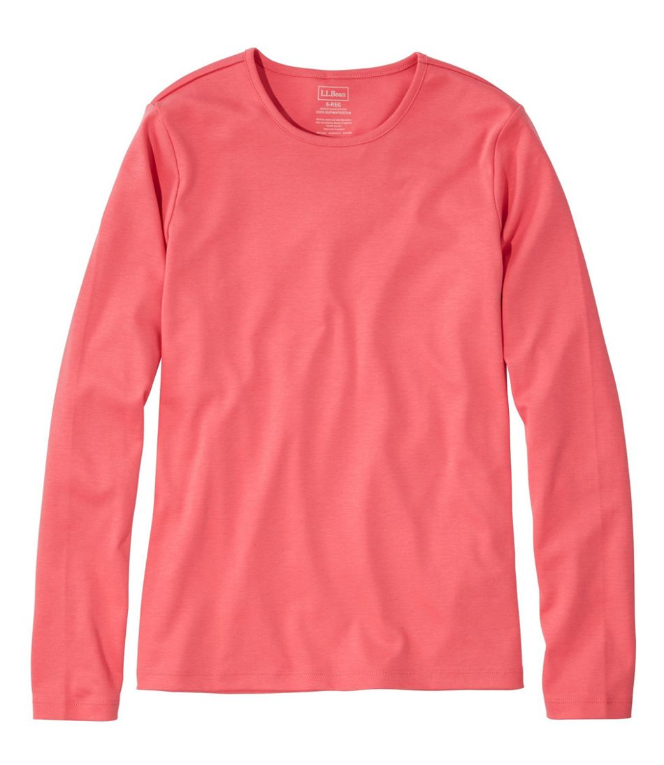 Pima Cotton Tee, Long-Sleeve Crewneck