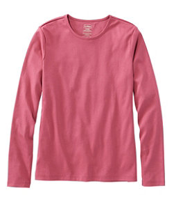 Women's Pima Cotton Tee, Long-Sleeve Crewneck