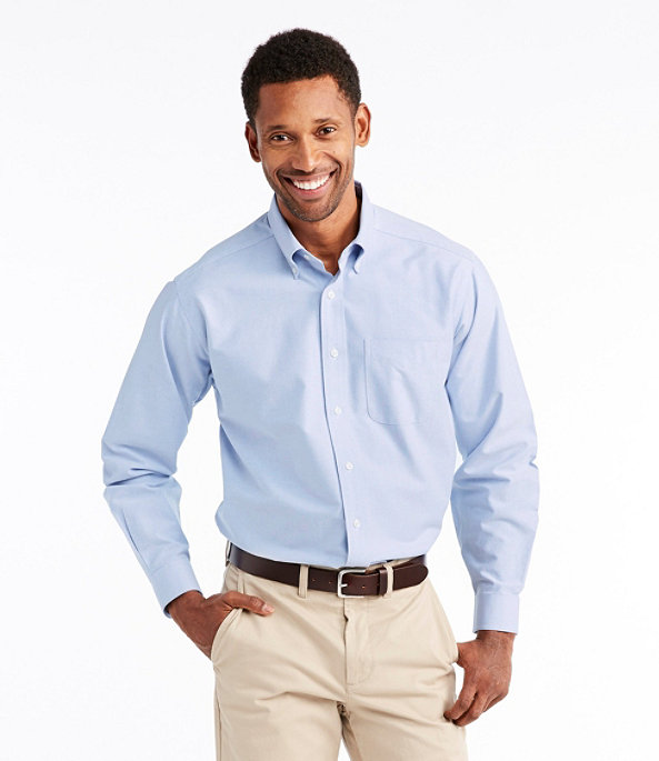 Men's Wrinkle-Resistant Classic Oxford Cloth Shirt, Neck Sizes, White, large image number 1