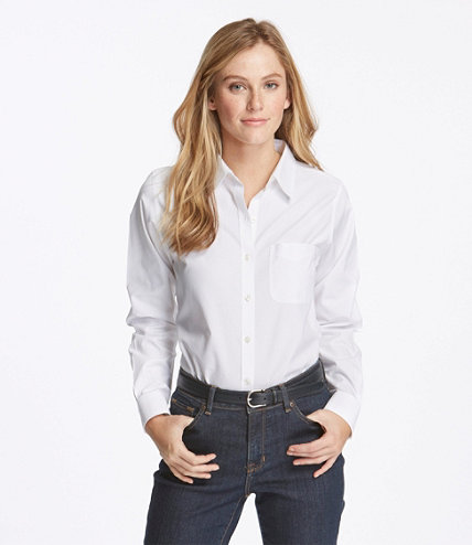 Women 39 s wrinkle free pinpoint oxford shirt long sleeve for How do wrinkle free shirts work