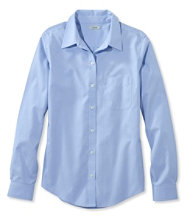 Wrinkle-Free Pinpoint Oxford Shirt, Long-Sleeve Relaxed Fit