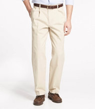 Wrinkle-Free Double L Chinos, Natural Fit Pleated