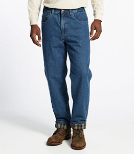 Men's Double L Jeans, Flannel-Lined Natural Fit Comfort Waist