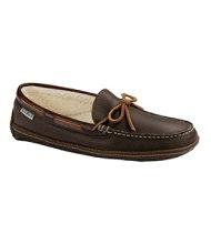 Men's Handsewn Slippers, Leather Fleece-Lined
