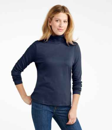 Pima Cotton Turtleneck, Long-Sleeve