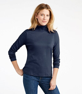 Women's Pima Cotton Turtleneck, Long-Sleeve