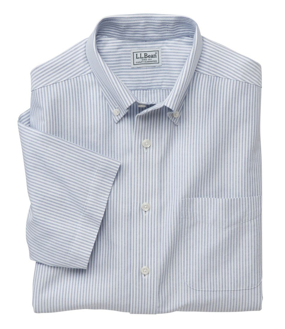 Mens Wrinkle Free Classic Oxford Cloth Shirt Traditional Fit Short