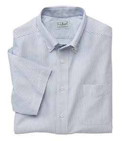 Wrinkle-Free Classic Oxford Cloth Shirt, Traditional Fit Short-Sleeve University Stripe