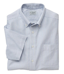 Men's Wrinkle-Free Classic Oxford Cloth Shirt, Traditional Fit Short-Sleeve University Stripe