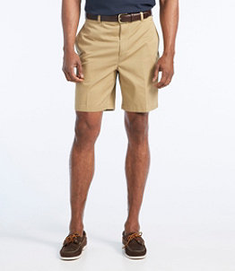 """Men's Wrinkle-Free Double L Chino Shorts, Natural Fit Plain Front 8"""" Inseam"""