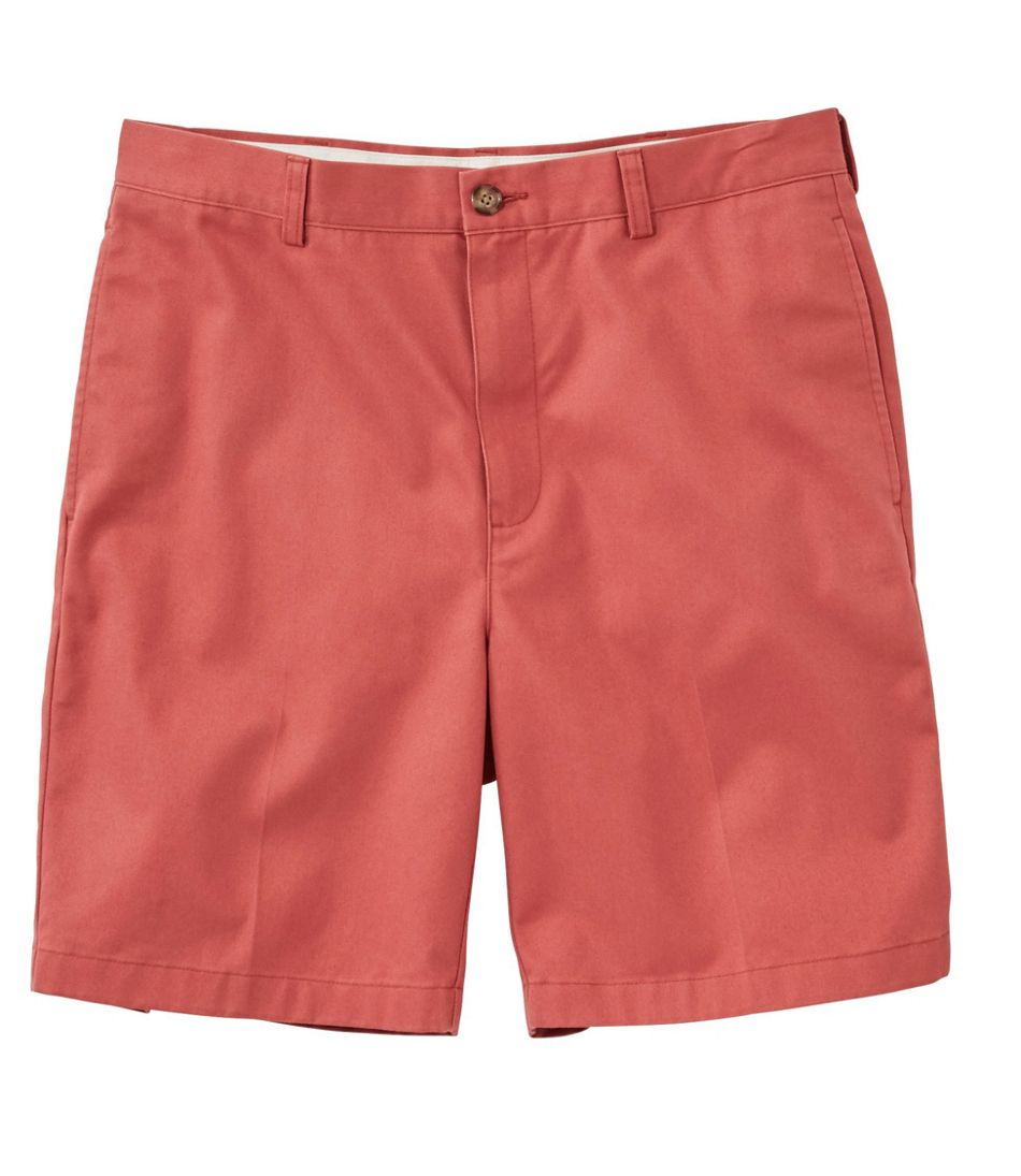 """Wrinkle-Free Double L® Chino Shorts, Natural Fit Plain Front 8"""" Inseam"""