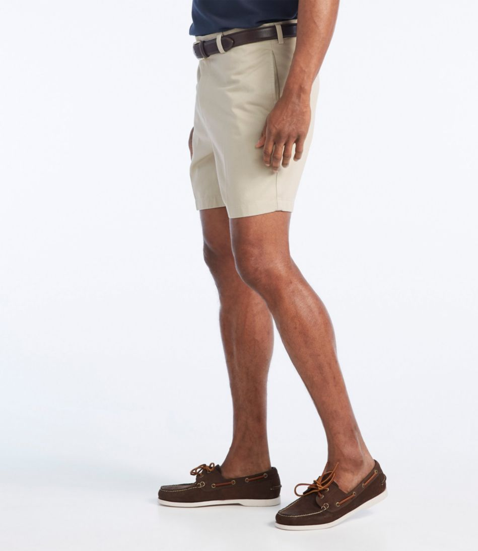 """Wrinkle-Free Double L® Chino Shorts, Natural Fit Plain Front 6"""" Inseam"""