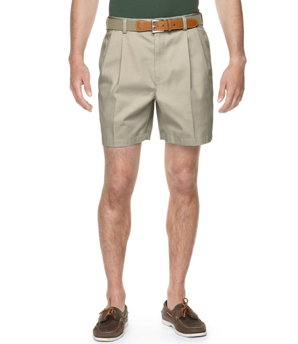 """Wrinkle-Free Double L® Chino Shorts, Natural Fit Pleated 6"""" Inseam"""