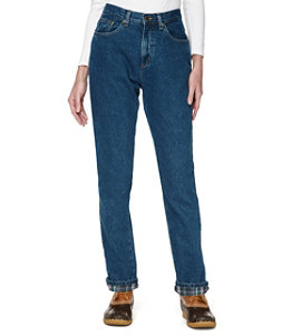 Women's Double L Jeans, Relaxed Fit Flannel-Lined
