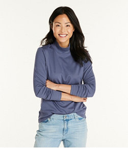 Women's Pima Cotton Tee, Long-Sleeve Stand-Up Neck