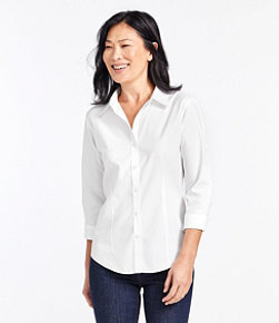 Women's Wrinkle-Free Pinpoint Oxford Shirt, Three-Quarter-Sleeve Slightly Fitted