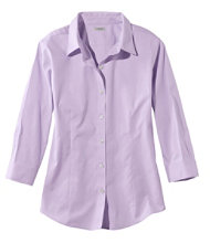 Wrinkle-Free Pinpoint Oxford Shirt, Three-Quarter-Sleeve