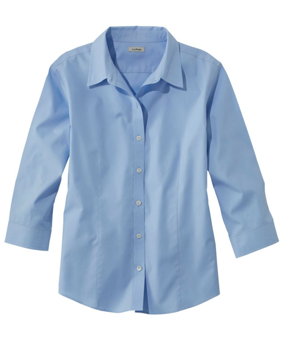 Wrinkle-Free Pinpoint Oxford Shirt, Three-Quarter-Sleeve Slightly Fitted