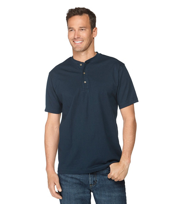 Men's Carefree Unshrinkable Shirt, Henley Short-Sleeve, , large image number 1
