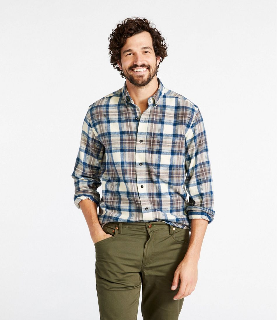 Mens Scotch Plaid Flannel Shirt Traditional Fit