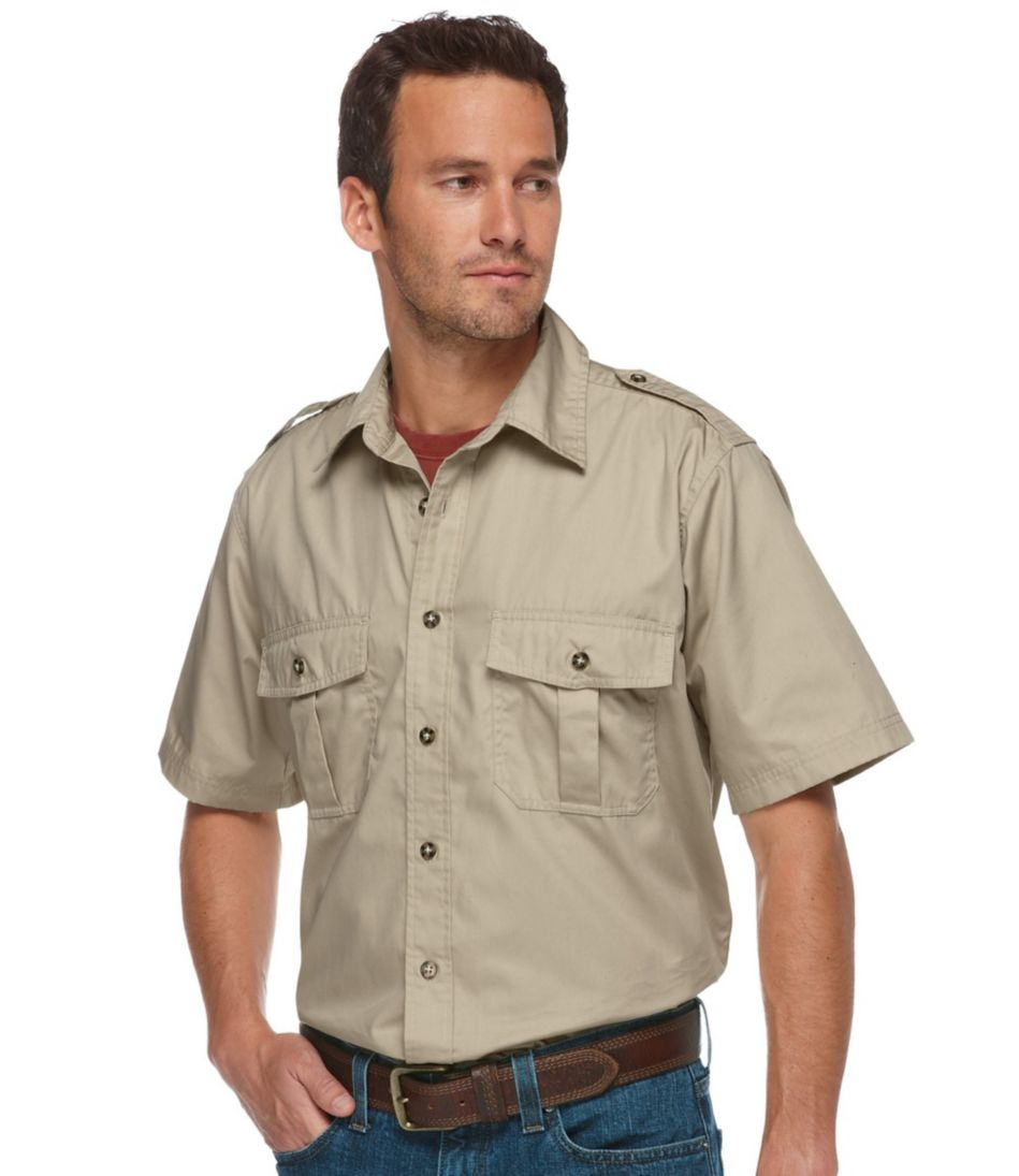 Men's Cotton Poplin Field Shirt, Short-Sleeve