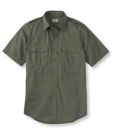 Men's Cotton Poplin Field Shirt, Short-Sleeve