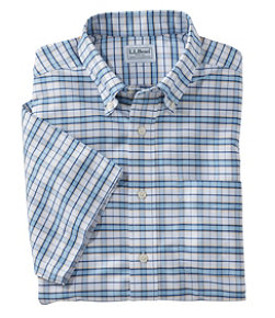 Men's Wrinkle-Free Classic Oxford Cloth Shirt, Traditional Fit Short-Sleeve Tattersall