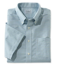 Wrinkle-Free Classic Oxford Cloth Shirt, Traditional Fit Short-Sleeve Tattersall