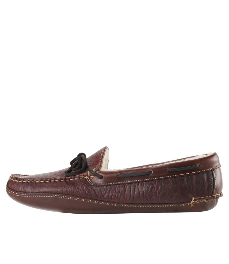 Men's Bison Double-Sole Slippers, Shearling-Lined