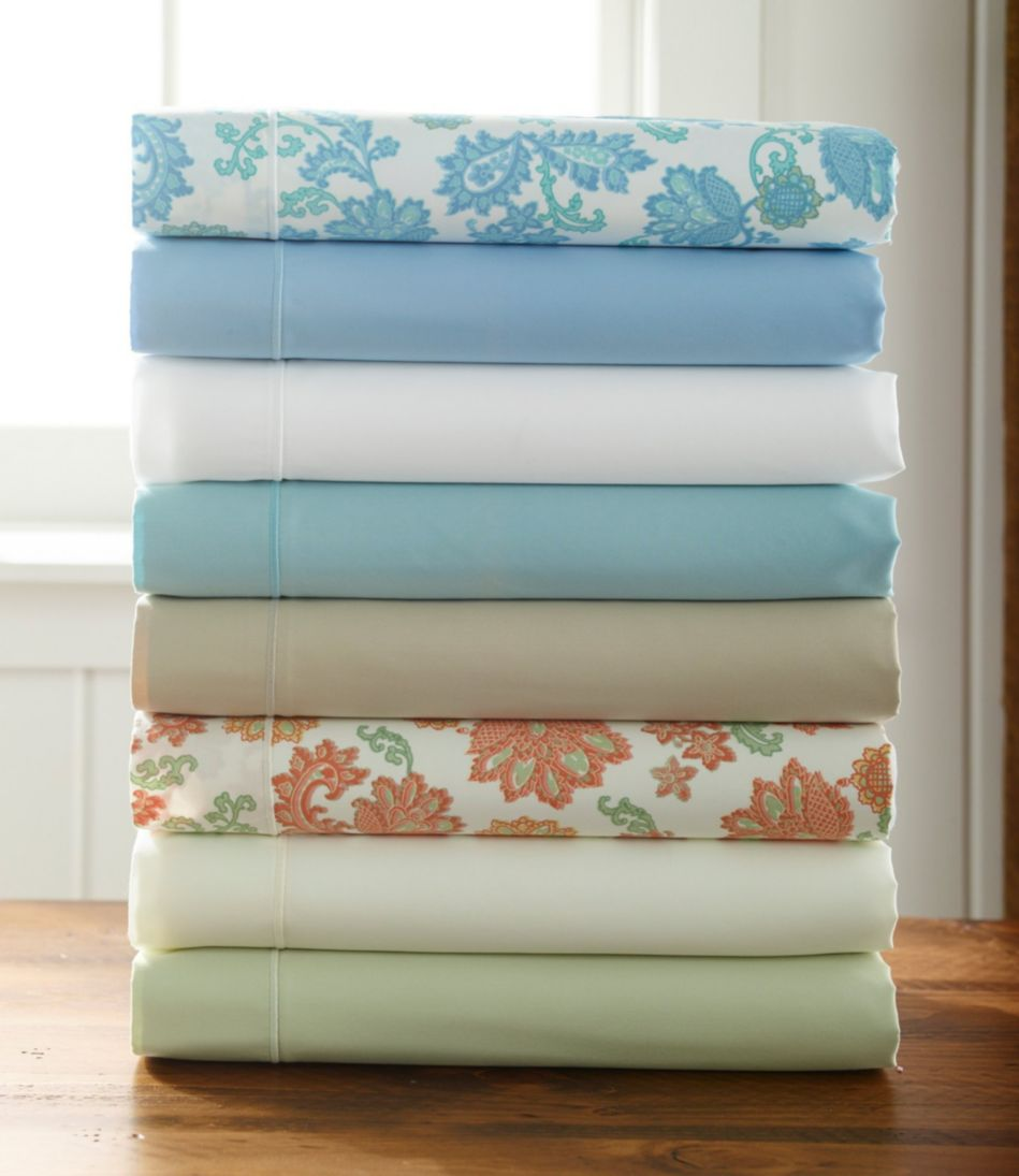 340-Thread-Count Cotton Sateen Sheet, Fitted Floral