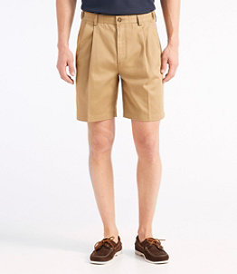"""Men's Wrinkle-Free Double L Chino Shorts, Natural Fit Pleated Hidden Comfort 8"""" Inseam"""