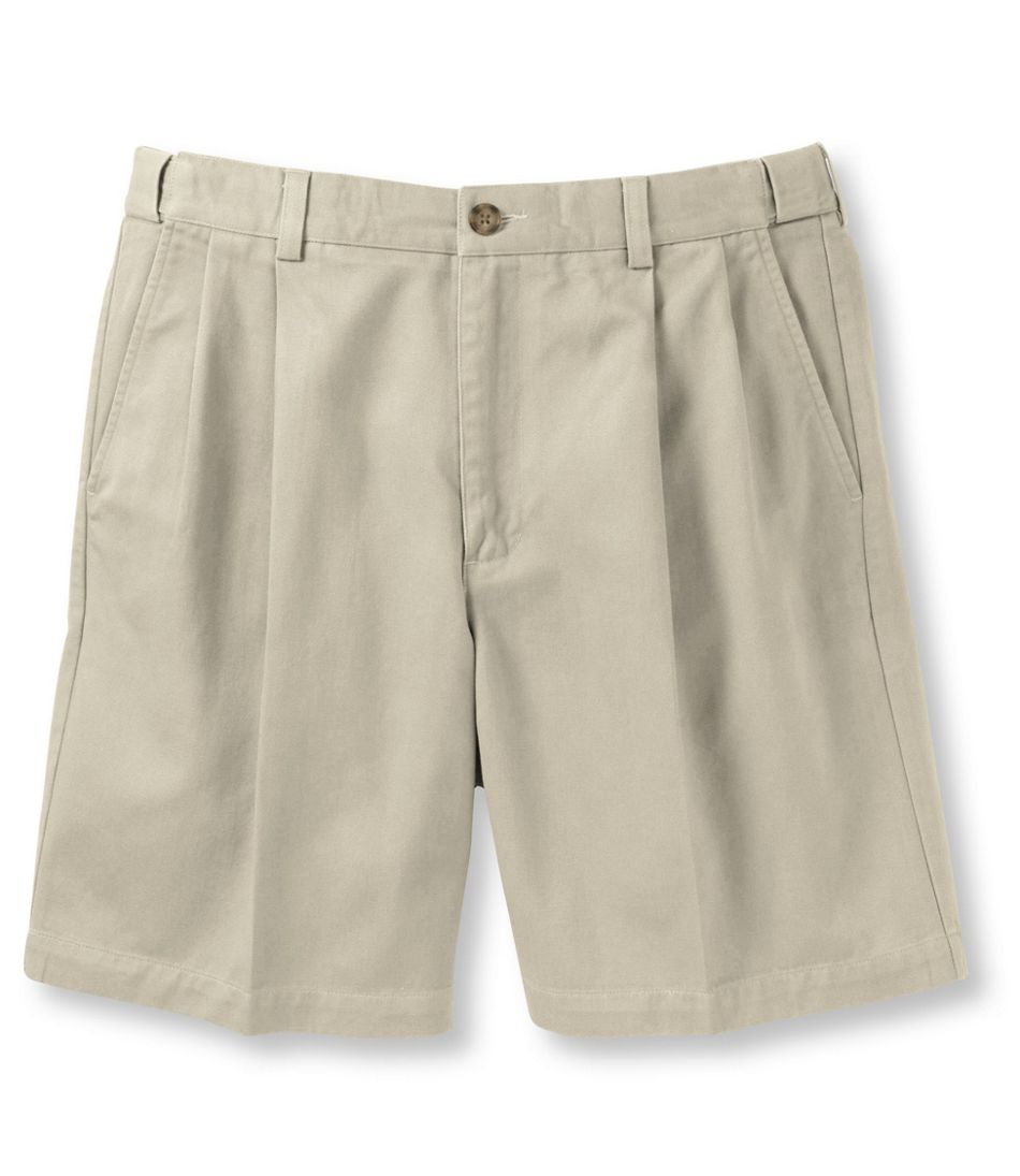 """Wrinkle-Free Double L® Chino Shorts, Natural Fit Pleated Hidden Comfort 8"""" Inseam"""