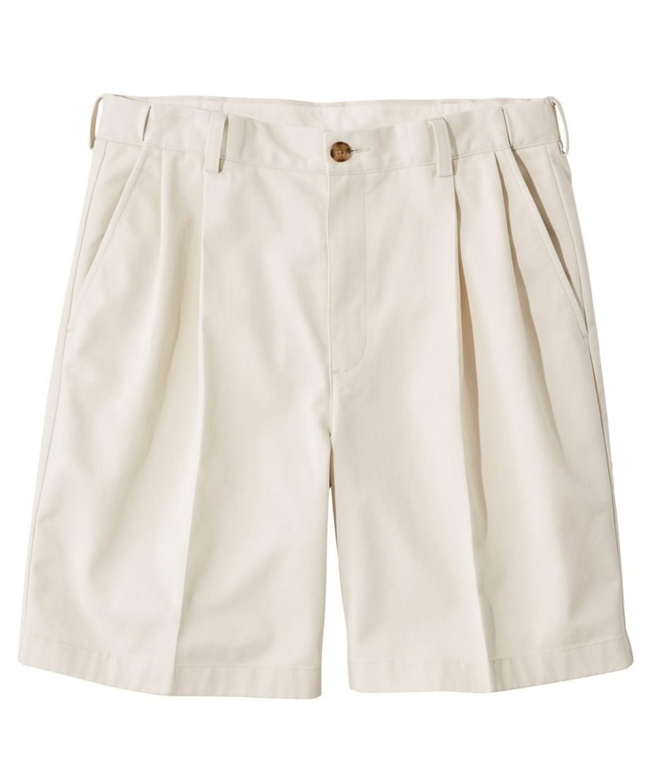 """Men's Wrinkle-Free Double L® Chino Shorts, Natural Fit Pleated Hidden Comfort 8"""" Inseam"""