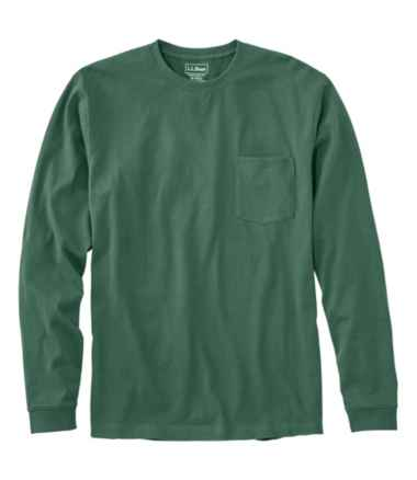 Men's Carefree Unshrinkable Tee with Pocket, Traditional Fit Long-Sleeve