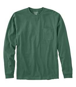 Men's Carefree Unshrinkable Tee with Pocket, Traditional Fit Long Sleeve