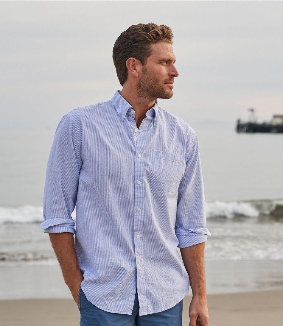 Men S Seersucker Shirt Traditional Fit Stripe