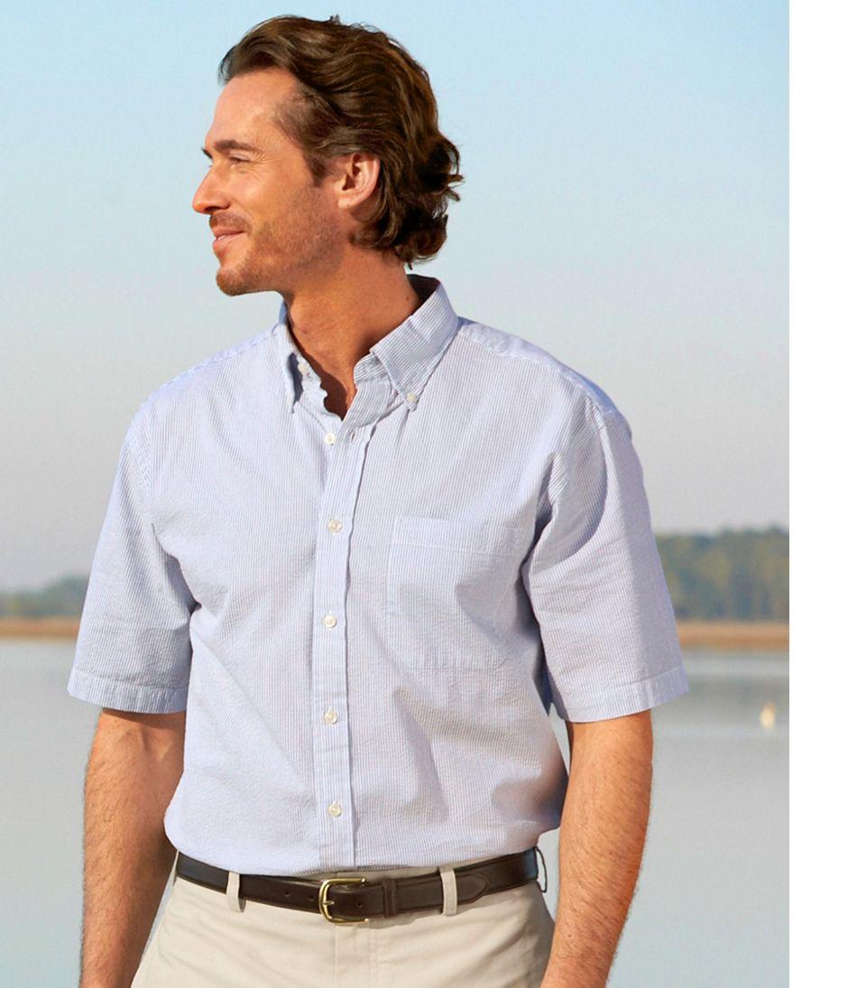 Seersucker Shirt, Traditional Fit Short-Sleeve Stripe