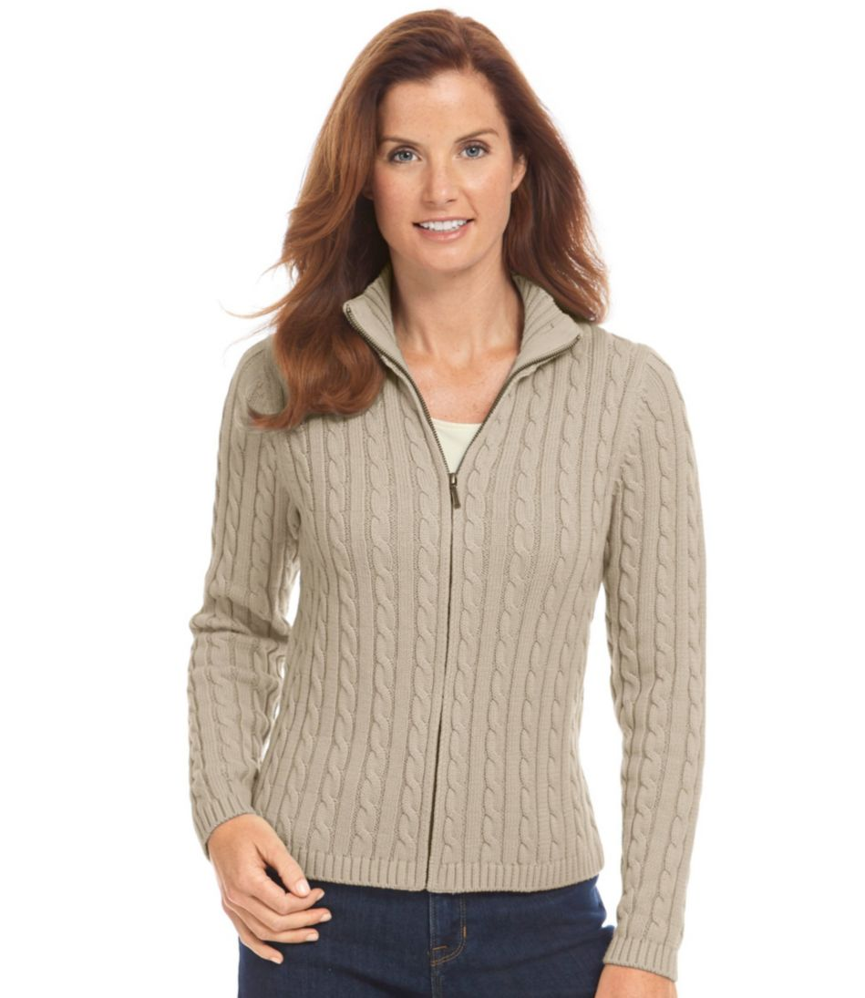 Double L® Cotton Sweater, Zip-Front Cable Cardigan