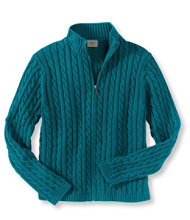 Double L Cotton Sweater, Zip-Front Cable Cardigan
