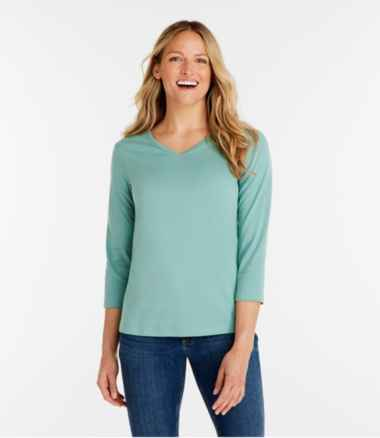 Women's L.L.Bean V-Neck, Three-Quarter-Sleeve