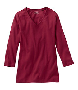 L.L.Bean V-Neck, Three-Quarter-Sleeve