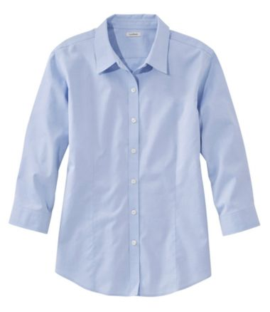 Women's Wrinkle-Free Pinpoint Oxford Shirt, Three-Quarter-Sleeve