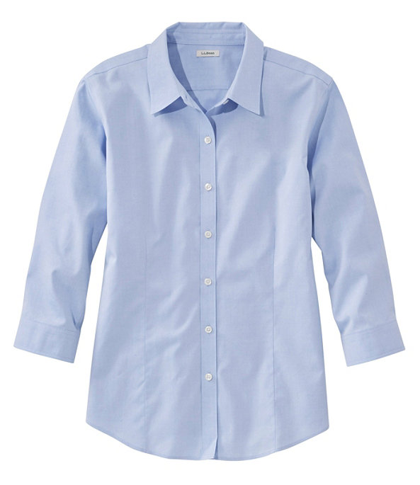 Women's Pinpoint Oxford Cloth Shirt, Three-Quarter Sleeve, , large image number 0