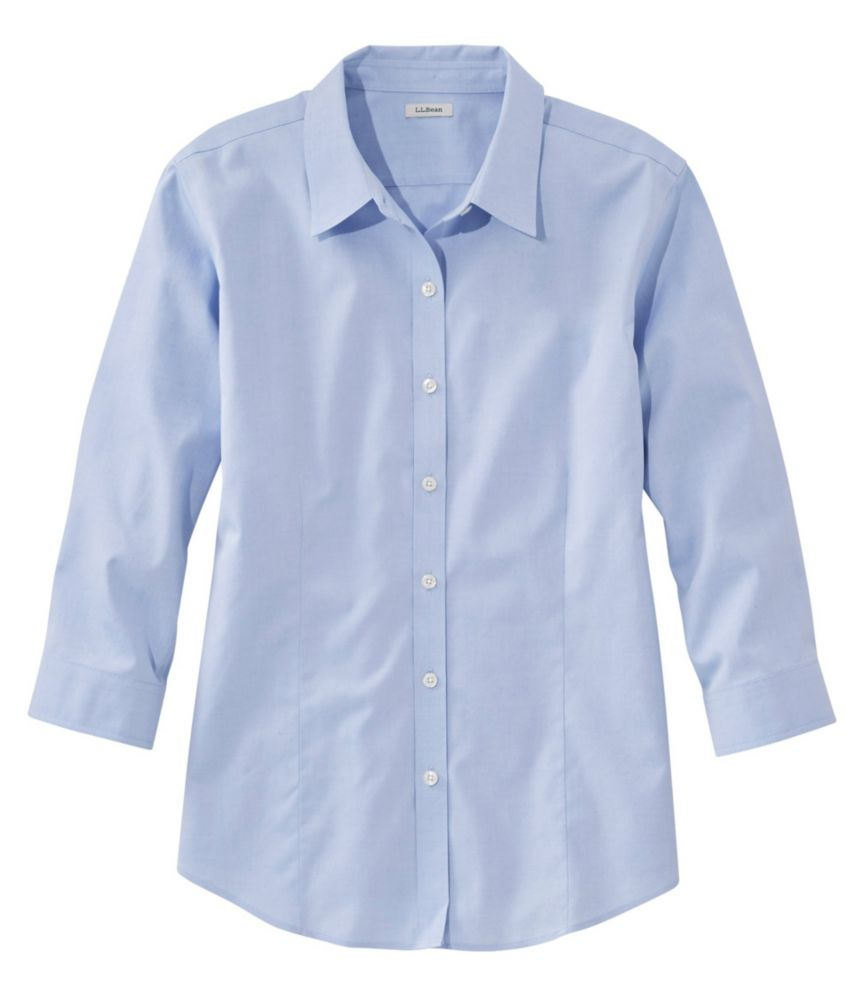 Women's Pinpoint Oxford Cloth Shirt, Three-Quarter Sleeve