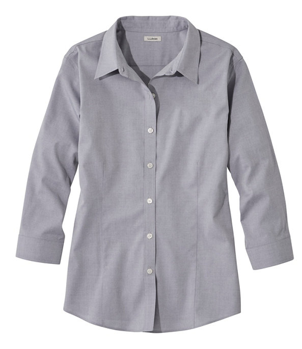 Women's Pinpoint Oxford Cloth Shirt, Three-Quarter Sleeve, Charcoal, large image number 0